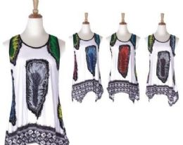 60 Units of Women's Feather Print Loose Casual Flowy Tunic Tank Top - Womens Fashion Tops
