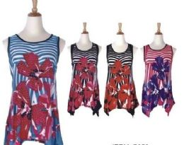 60 Units of Women's Floral Print Loose Casual Flowy Tunic Tank Top - Womens Fashion Tops
