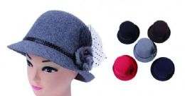 72 Units of Women Solid Color Winter Hat Bucket with Flower Accent - Bucket Hats