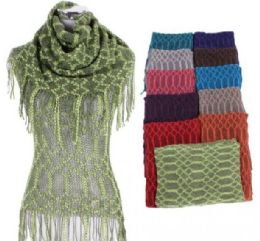 60 Units of Women Fringe Knit Top With Scarf - Womens Fashion Tops