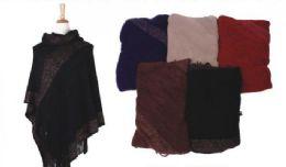 18 Units of Women's Classic Soft Knit Poncho Shawl Wrap Winter Warm Fringe Tassel Sweater Cape - Womens Fashion Tops