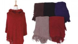 18 Units of Women Fine Knit Faux Fur Trim Layers Poncho Cape Cardigan Sweater - Womens Fashion Tops