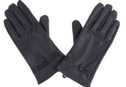 72 Units of Women's Black Leather Gloves With Buttons - Leather Gloves
