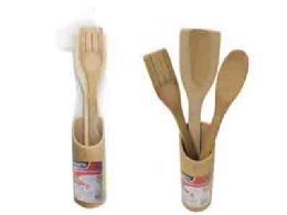96 Units of 4 Piece Bamboo Utensils w/ Holder - Kitchen Utensils