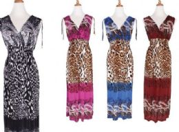 48 Units of Womens Fashion Maxi Sun Dresses Assorted Animal Print And Sizes Summer Dresses - Womens Sundresses & Fashion