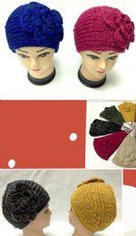 96 Units of Knit Flower Wide Headband - Ear Warmers
