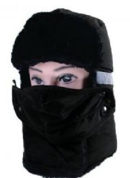 36 Units of Men Winter Hat With Mask In Black - Trapper Hats