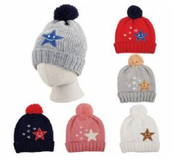 48 Units of Kid's Pom Pom Hat With Stars Decal Ages 3-8 - Junior / Kids Winter Hats