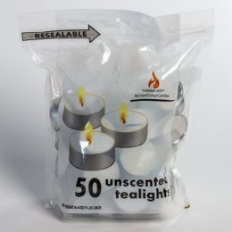 24 Units of Candles 50ct Unscented Tealights Resealable Bag - Candles & Accessories