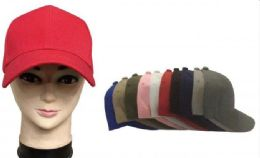 120 Units of Baseball Cap Plain Blank Solid Color Red - Baseball Caps & Snap Backs