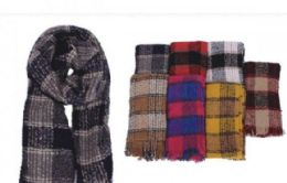 72 Units of Ladies Scarf With Small Checkered Design - Winter Scarves
