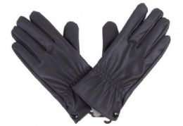 72 Units of Mens Black PU Gloves In Black - Leather Gloves