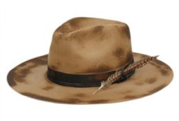 2 Units of Lyon France Vintage Wool Felt Fedora WIth Fabric Band And Feather - Fedoras, Driver Caps & Visor