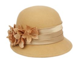 12 Units of Ladies Wool Felt Hat With Flower And Velvet Band - Bucket Hats