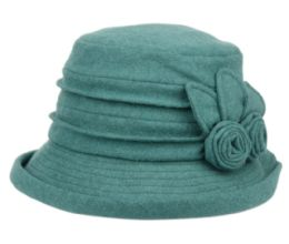 12 Units of Ladies Cloche Hat With Side Flower And Roll Over Brim - Bucket Hats