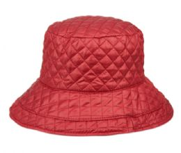 12 Units of Quilted Stitch Rain Bucket Hat - Bucket Hats