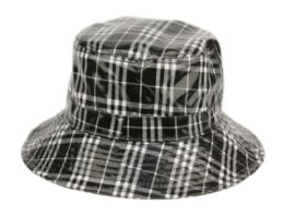 12 Units of Faux Leather Plaid All Weather Bucket Hat - Bucket Hats