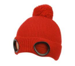 24 Units of Kids Winter Ski Pom Pom Beanie With Goggles And Sherpa Lining - Unisex Ski Masks