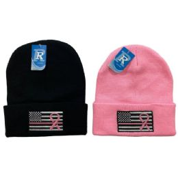 24 Units of Embroidered Knitted Cuff Hat [Flag with Pink Ribbon] - Winter Hats