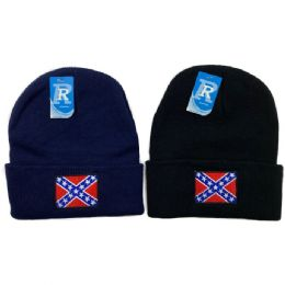 24 Units of Embroidered Knitted Cuff Hat [Rebel Flag] - Winter Hats