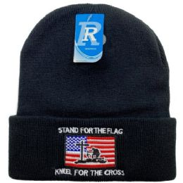 24 Units of Embroidered Knitted Cuff Hat[Stand For Flag-Kneel for Cross] - Winter Hats