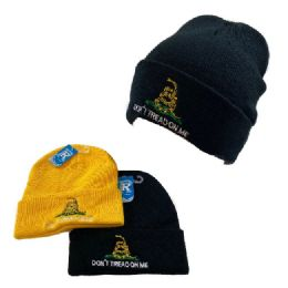 24 Units of Embroidered Knitted Cuffed Hat Don't Tread on Me - Winter Hats