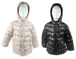 12 Units of Boy's & Girl's Metallic Star Winter Bubble Ski Jackets w/ Hood - Sizes XS-XL - Choose Your Color(s) - Junior Kids Winter Wear