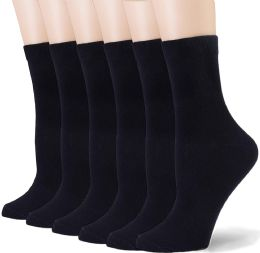 60 Units of Fruit Of The Loom Crew Sock For Woman Shoe Size 4-10 Black - Womens Crew Sock