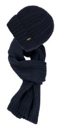 12 Units of Chunky Cable Knit Beanie Sherpa Lining With Matching Scarf Set - Winter Sets Scarves , Hats & Gloves