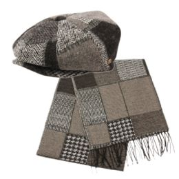 12 Units of Newsboy Caps With Scarf Set - Winter Sets Scarves , Hats & Gloves