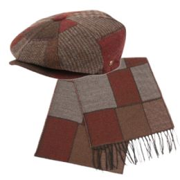 12 Units of Newsboy Cap And Scarf Set - Winter Sets Scarves , Hats & Gloves