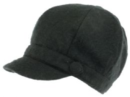 24 Units of Plain Cabbie Hat With Front Band And Side Button - Military Caps