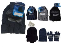 144 Units of Men's Hat And Gloves Set One Size Fits Most, Black, Grey, Blue - Winter Sets Scarves , Hats & Gloves