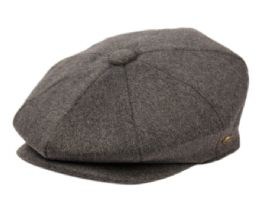 12 Units of Brushed Solid Color Wool Blend Newsboy Cap With Quilted Satin Lining In Grey - Fashion Winter Hats