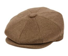 12 Units of Brushed Solid Color Wool Blend Newsboy Cap With Quilted Satin Lining In Light Brown - Fashion Winter Hats