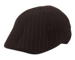 12 Units of Poly Wool Stripe Duckbill Ivy Cap In Black - Fedoras, Driver Caps & Visor