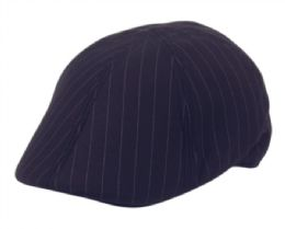 12 Units of Poly Wool Stripe Duckbill Ivy Cap In Navy - Fedoras, Driver Caps & Visor