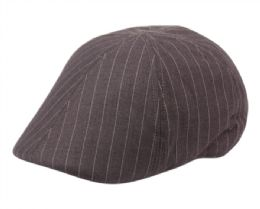 12 Units of Poly Wool Stripe Duckbill Ivy Cap In Grey - Fedoras, Driver Caps & Visor