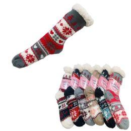 48 Units of Women's Plush-Lined Non Slip Sherpa Socks [Snowflakes] - Womens Slipper Sock