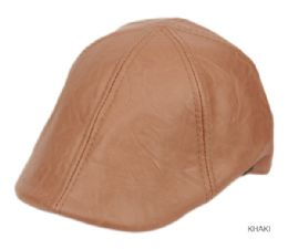 12 Units of Faux Leather Duckbill Ivy Cap In Khaki - Fedoras, Driver Caps & Visor