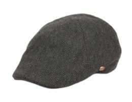 12 Units of Tweed Herringbone Duckbill Ivy Cap In Grey - Fedoras, Driver Caps & Visor