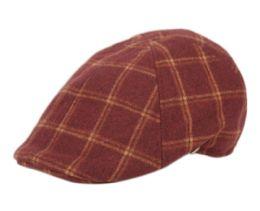 12 Units of Plaid Wool Blend Duckbill Ivy Cap In Burgandy - Fedoras, Driver Caps & Visor