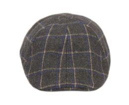 12 Units of Plaid Wool Blend Duckbill Ivy Cap In Charcoal - Fedoras, Driver Caps & Visor