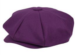12 Units of Solid Color 8 Panel Big Applejack Newsboy Cap In Purple - Fedoras, Driver Caps & Visor