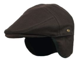 12 Units of Melton Wool Flat Ivy Caps With Earmuff In Brown - Fedoras, Driver Caps & Visor