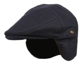 12 Units of Melton Wool Flat Ivy Caps With Earmuff In Navy - Fedoras, Driver Caps & Visor