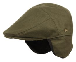 12 Units of Melton Wool Flat Ivy Caps With Earmuff In Olive - Fedoras, Driver Caps & Visor