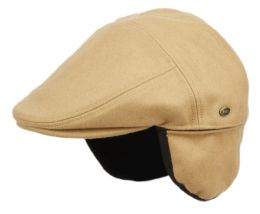 12 Units of Melton Wool Flat Ivy Caps With Earmuff In Tan - Fedoras, Driver Caps & Visor