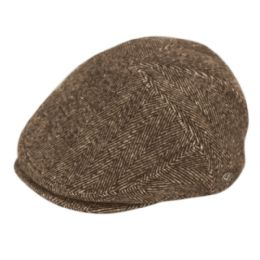 12 Units of Herringbone Wool Flat Ivy Caps With Earmuff In Brown - Fedoras, Driver Caps & Visor
