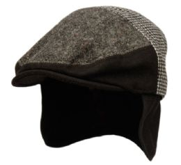 12 Units of Herringbone Houndstooth Wool Ivy Cap With Fleece Earlap And Lining In Black - Fedoras, Driver Caps & Visor